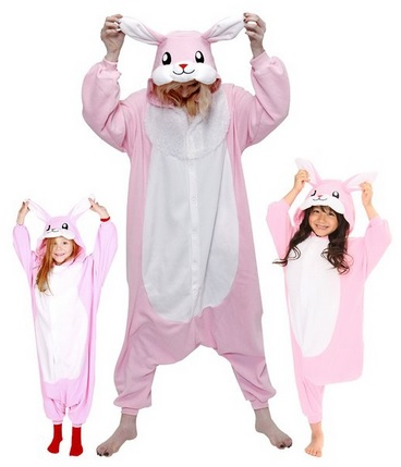cute pink rabbit fleece pajamas