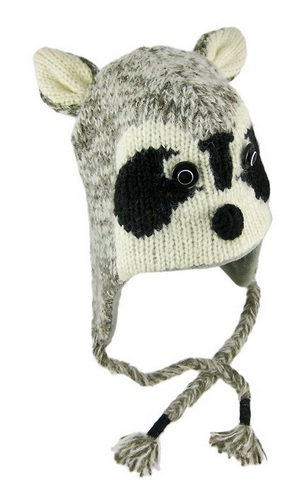 Gray Ricky Raccoon Pilot Knit Cap