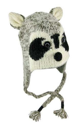 Gray Ricky Raccoon Pilot Knit Cap