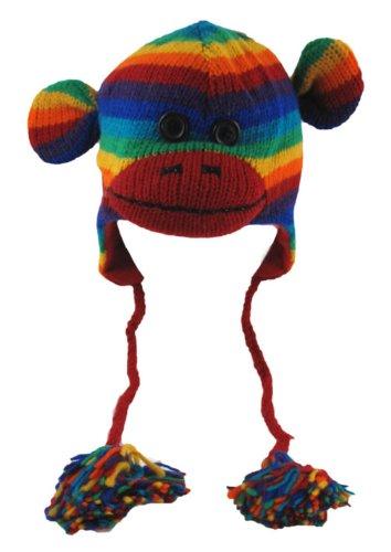 Fun  Wool Animal Hat Sock Monkey Rainbow