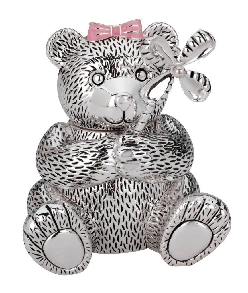 Cute Silver Bear Piggy Bank for Girls