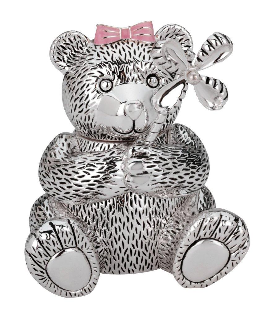 Cute Silver Bear Piggy Bank for Girls