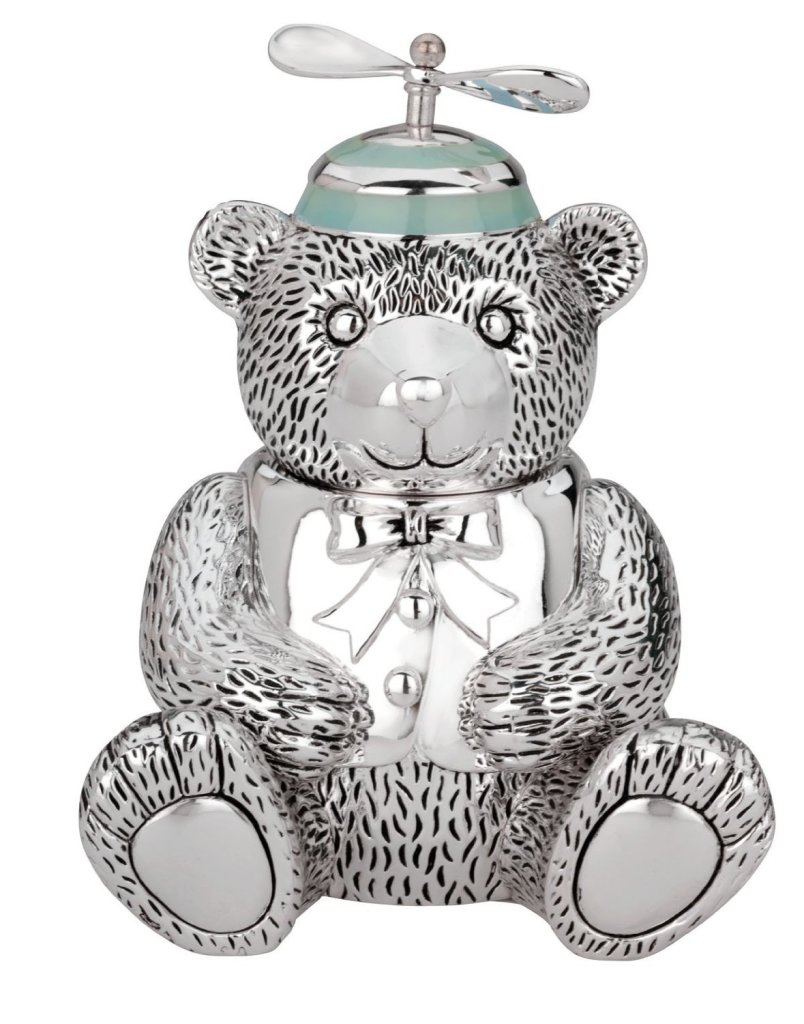 Cute Silver Bear Piggy Bank for Boys