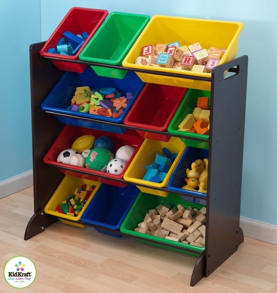 beautiful wooden toy storage organizer with plastic bins