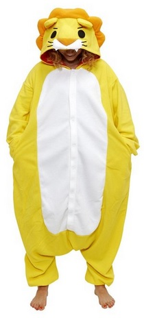 fun yellow lion cosplay animal pajamas