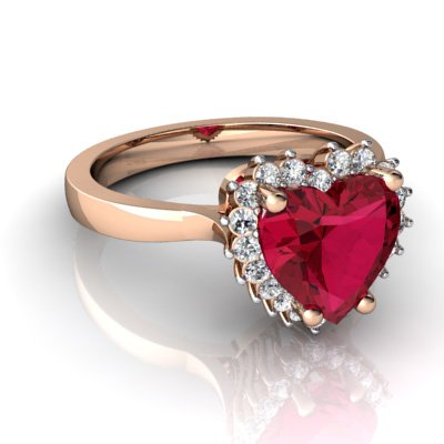 Very Romantic Ruby and Diamond Heart Ring for Her