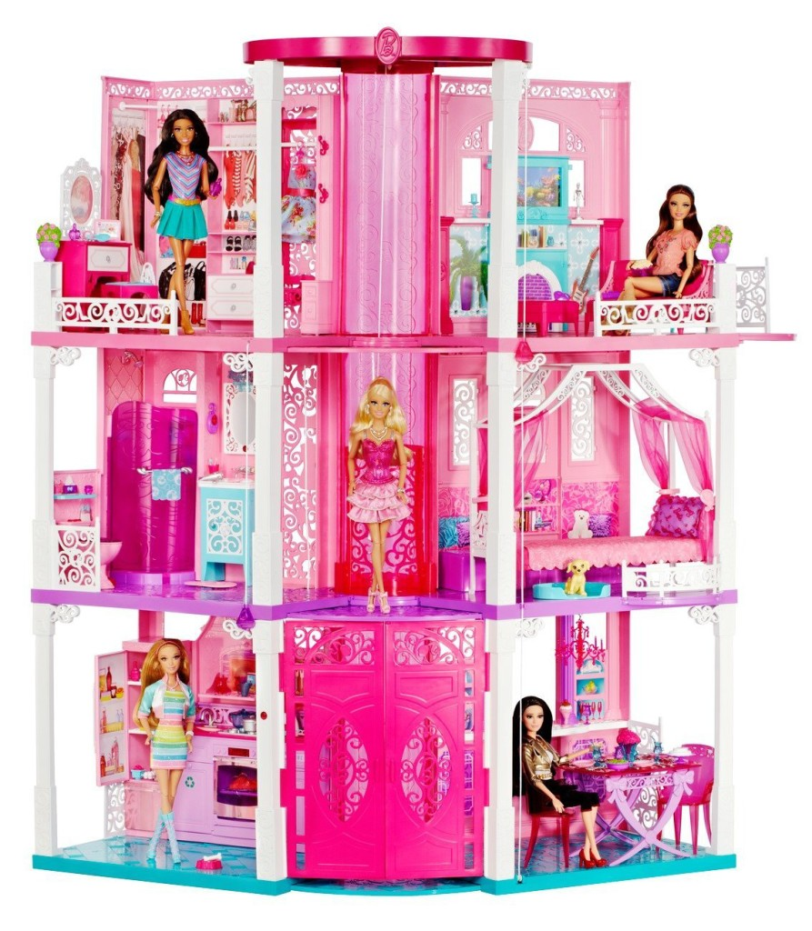 pink Barbie dollhouse for girls