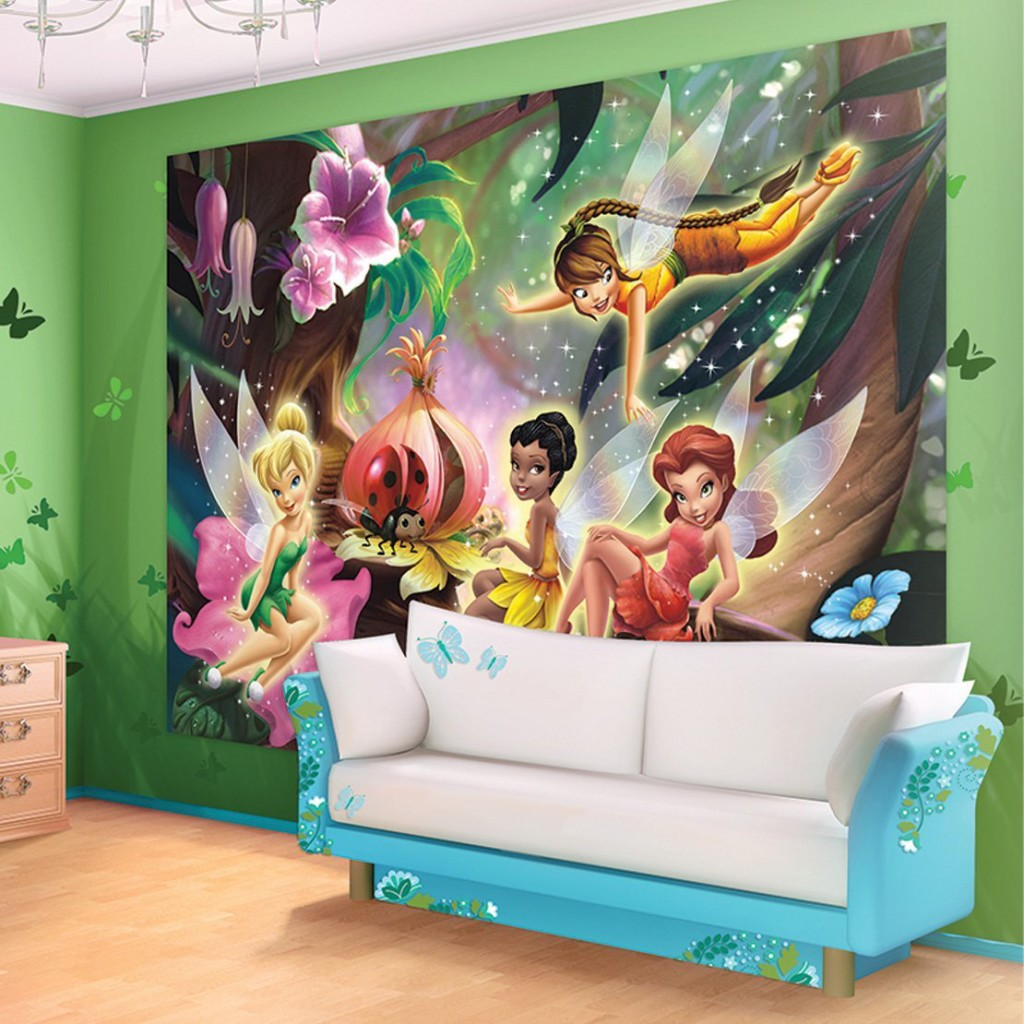 11 cute fairy wall murals and fairy wall decals for girls for Disney mural wallpaper