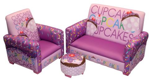 Cute Cupcake 3 Piece Toddler Sofa Set, Lavender