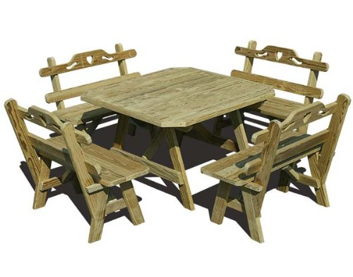 Cute Picnic Table with Hearts Design