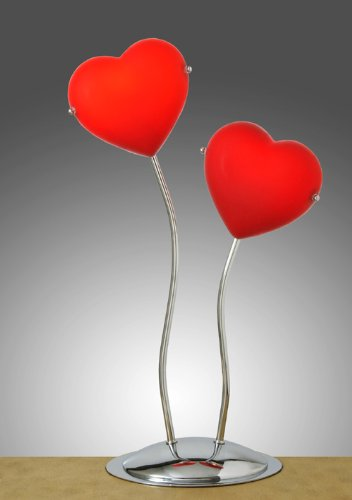 Double Red Hearts Desk Table Lamp