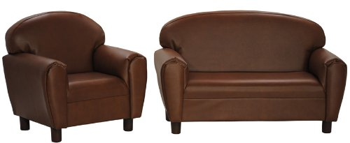 Brown Faux Leather Sofa Set for Kids under 5