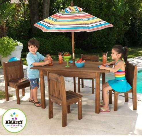 Kidkraft Child Table and Stacking Chairs with Striped Umbrella