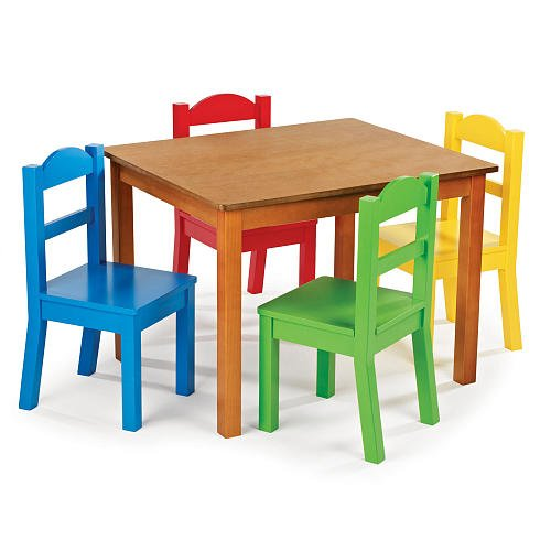 Cute Wood Table and Colorful Chair Set for Kids