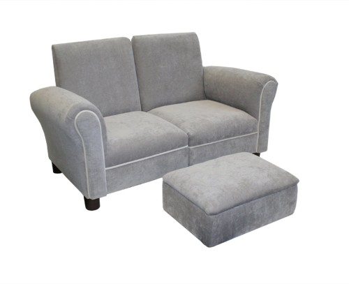 Gray Color Toddler Sofa Set with Ottoman