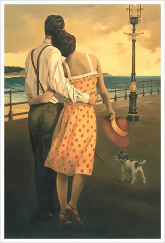 View of the Bay (Couple on the Promenade) Romantic Art Print Poster