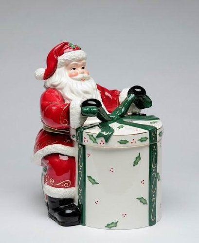 Santa Claus Tying Bow on Present Shaped Cookie Jar