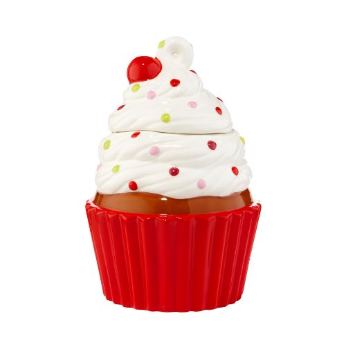 Christmas Trim Cupcake Cookie Jar