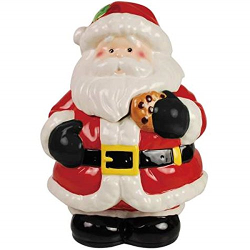 Fun Santa Eating a Cookie Painted Ceramic Cookie Jar