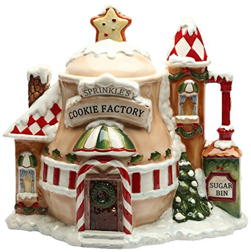 Ceramic Santa's Village Cookie Jar