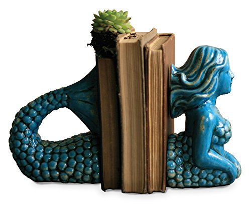 Blue Ceramic Mermaid Bookends
