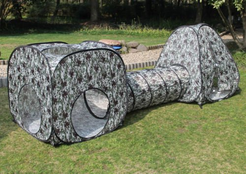 Kids Fun Camouflage Play Tent Set with Tunnel