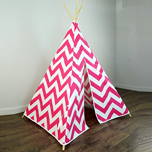 Fun Kids Teepee Tent in Candy Hot Pink and White Chevron Design