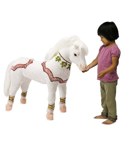 Gorgeous Sit-on Plush White Pony for Girls