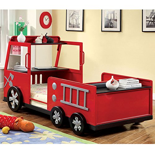Red Fire Engine Truck Twin Bed for Boys