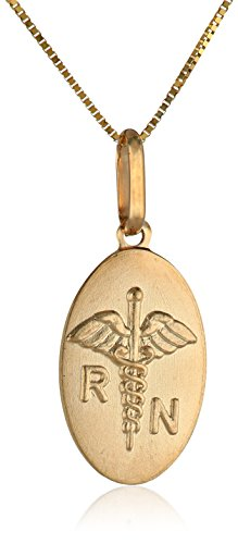 Beautiful 14k Yellow Gold Registered Nurse Pendant Necklace