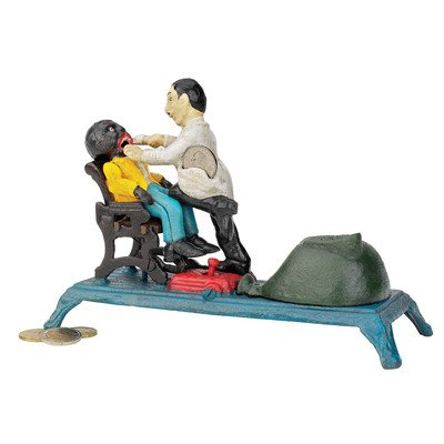 Funny Dentist Pulling Teeth Iron Statue Coin Bank