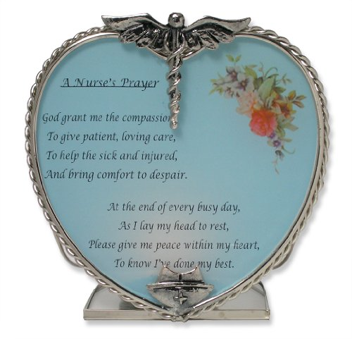 Beautiful Nurse's Prayer Candle Holder Pewter Heart