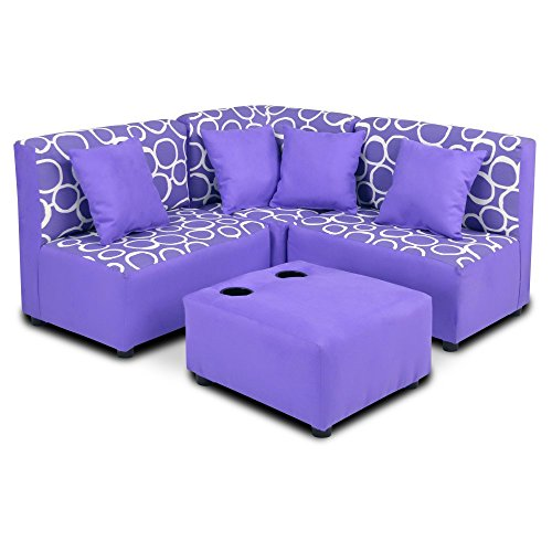 Fun Purple Kids Sectional Sofa Set