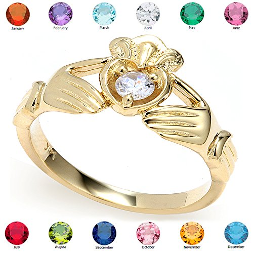 Heart Shape Birthstone Ring for Daughters