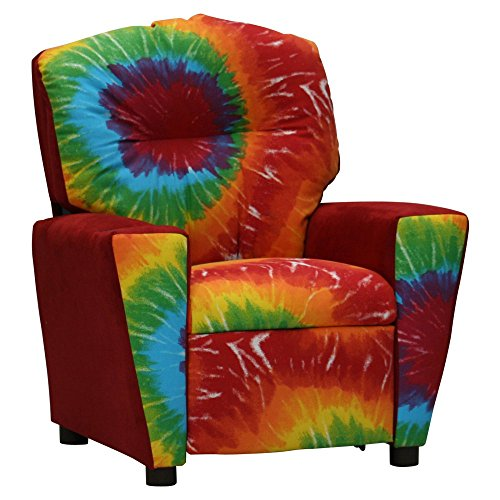 Tie Dyed Colorful Kid's Recliner with Cup Holder