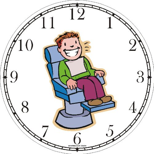 Happy Patient in Dentist Chair Wall Clock