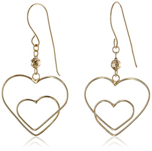 Yellow Gold Double-Heart Dangle Earrings
