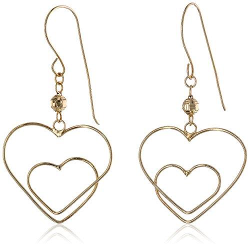 Yellow Gold Double-Heart Dangle Earrings