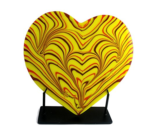 Unique Yellow Heart Shaped Glass Sculpture