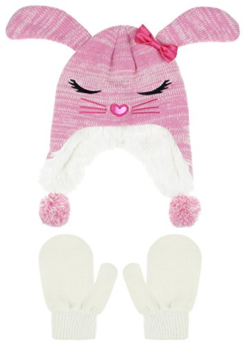 Cute Pink Bunny Hat for Toddler Girls