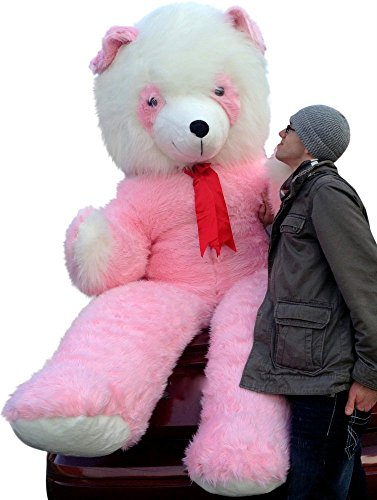 Pink and White Giant Stuffed Teddy Bear