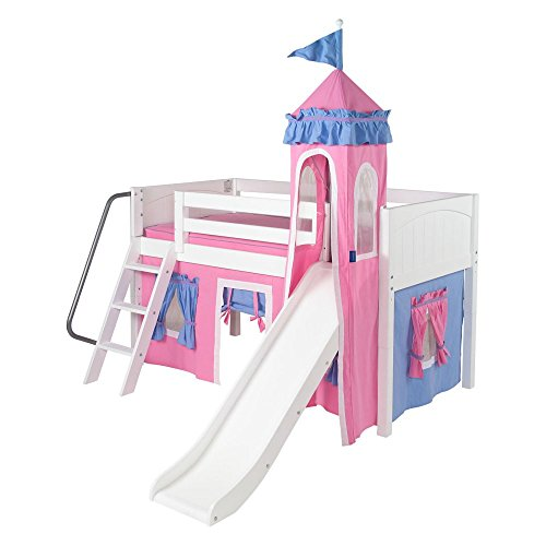 Cute Loft Tent Bed with Slide for Girls