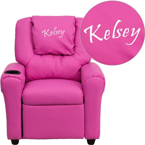 Personalized Vinyl Kids Recliner with Cup Holder and Headrest