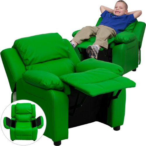 Green Vinyl Kids Recliner with Storage Arms