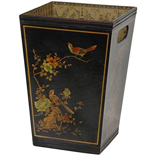 Beautiful Oriental Black Lacquer Trash Bin