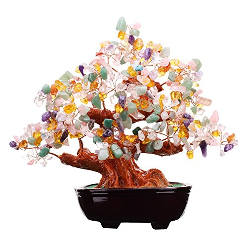 Feng Shui Multi Color Natural Gem Stone Money Tree