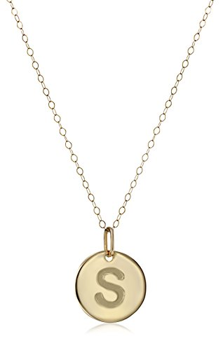 14k Yellow Gold Initial Pendant Necklace, 18″